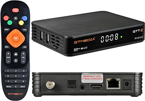 GT MEDIA GTT-2 Decodificador TDT Android 6.0 TV Box 4K Digital Receptor Terrestre DVB-T/T2 Smart TV Box Amlogic S905D Quad-Core 2GB+8GB 3D H.265 MPEG-2/4 WIFI 2.4Ghz Soporte Netflix YouTube CCcam: Amazon.es: Electrónica