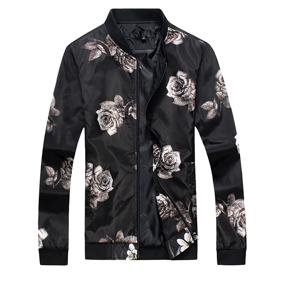 Cloudstyle Mens Slim Fit Jacket Lightweight Sportswear Casual Long Sleeve Bomber Jacket,Black,Small by Cloudstyle