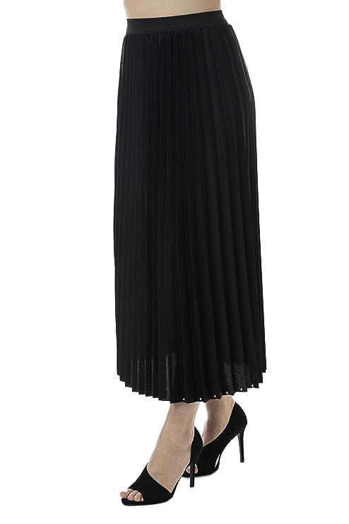 Morgan Visioli Fashion Falda Larga Plisse Negra (Negro): Amazon ...