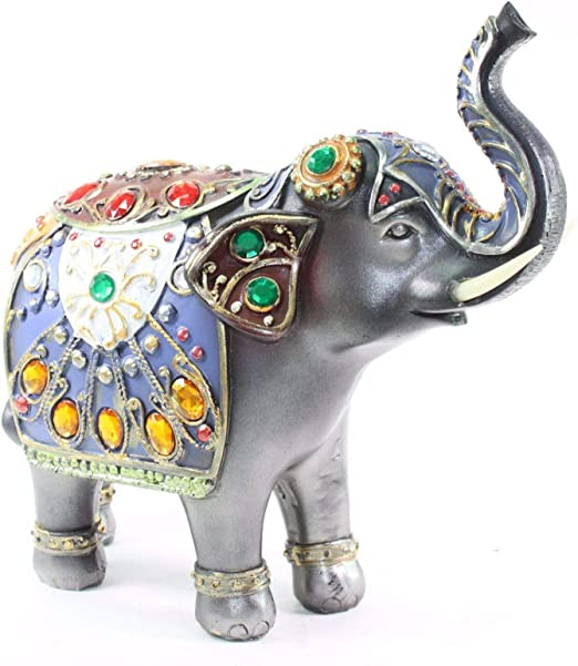 Resin Feng Shui Elephant Trunk Statue Lucky Wealth Figurine Home Decoration