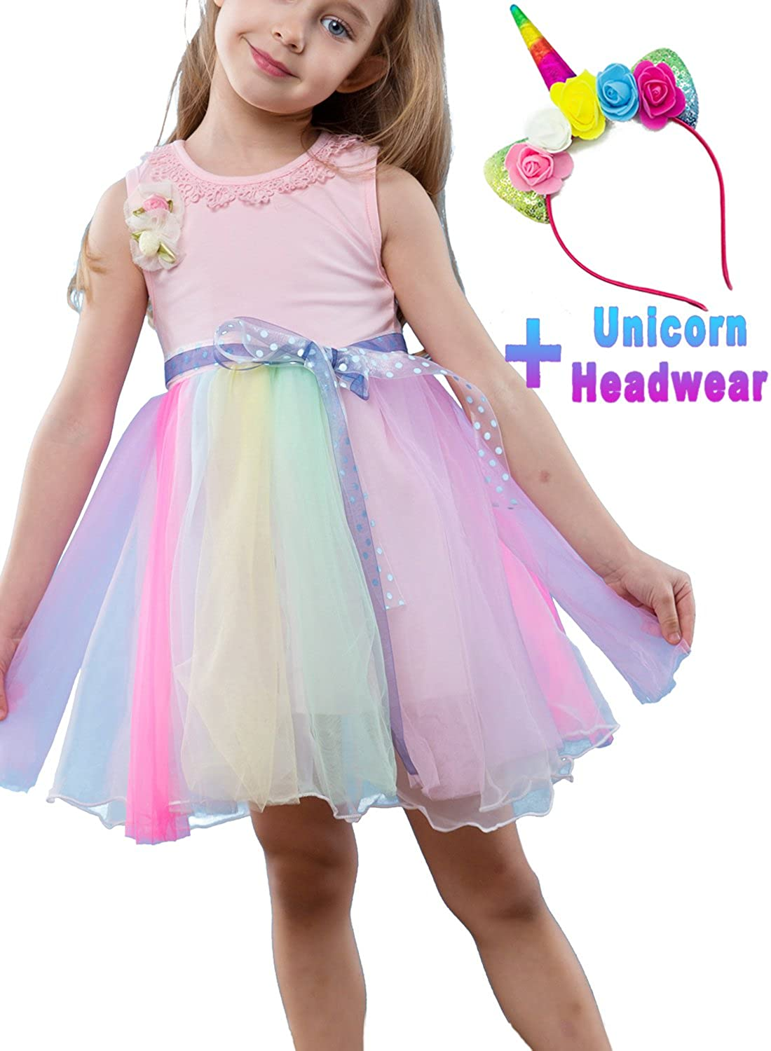 80eacde8f35 ... Dress + 1  Unicorn Headband (GREAT GIFT).     Size Selection - These  has 2 colours(GREEN   PINK) and from 3-12 year old girl US regular height  to chose.