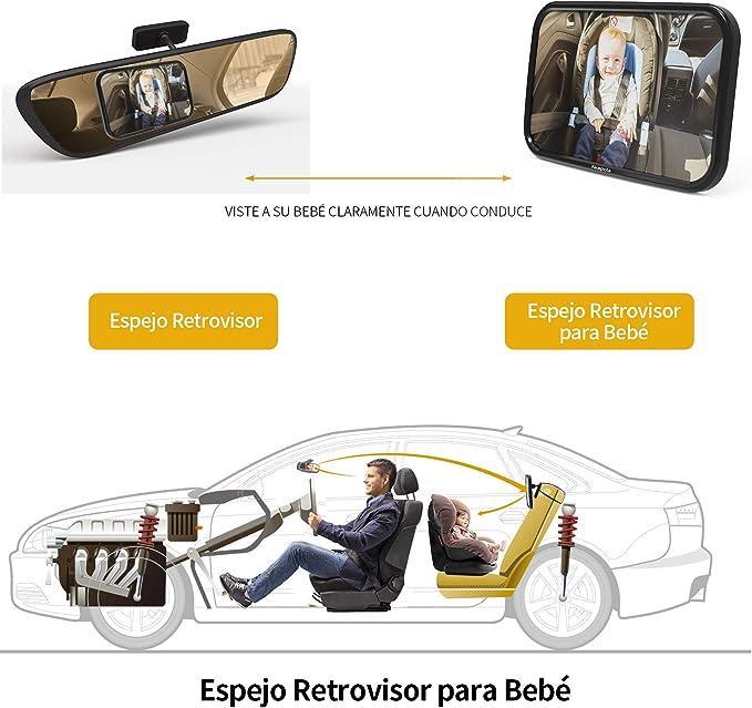 espejo retrovisor ancho y de seguridad para beb/é para ver hacia atr/ás beb/és espejo para asiento de coche para beb/é beb/és PANGHU Espejo de coche para beb/é para asiento trasero ni/ños y ni/ños
