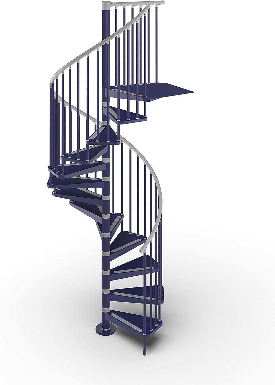 Mister Step Gamia Metal - Escalera de caracol para interiores de acero barnizado - Diámetro 120 cm. 12 peldaños de 252-276 cm de altura., azul: Amazon.es: Bricolaje y herramientas