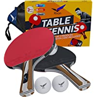 Rivon Ping Pong Paddle/Racket Set - 2 Table Tennis Paddles/Rackets with 3 Balls and Travel Case - ITTF Approved Rubber…