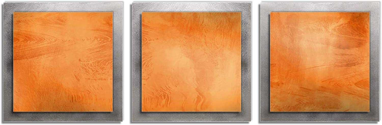 Metal Art Studio Essence Layered Modern Metal Wall Art, Orange/Silver