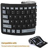 Faltbare Silikon-Tastatur flexible Tastatur weiche wasserdichte aufrollbare Silikagel-Computertastatur (103 Tasten) für PC Laptop Notebook [Schwarz]