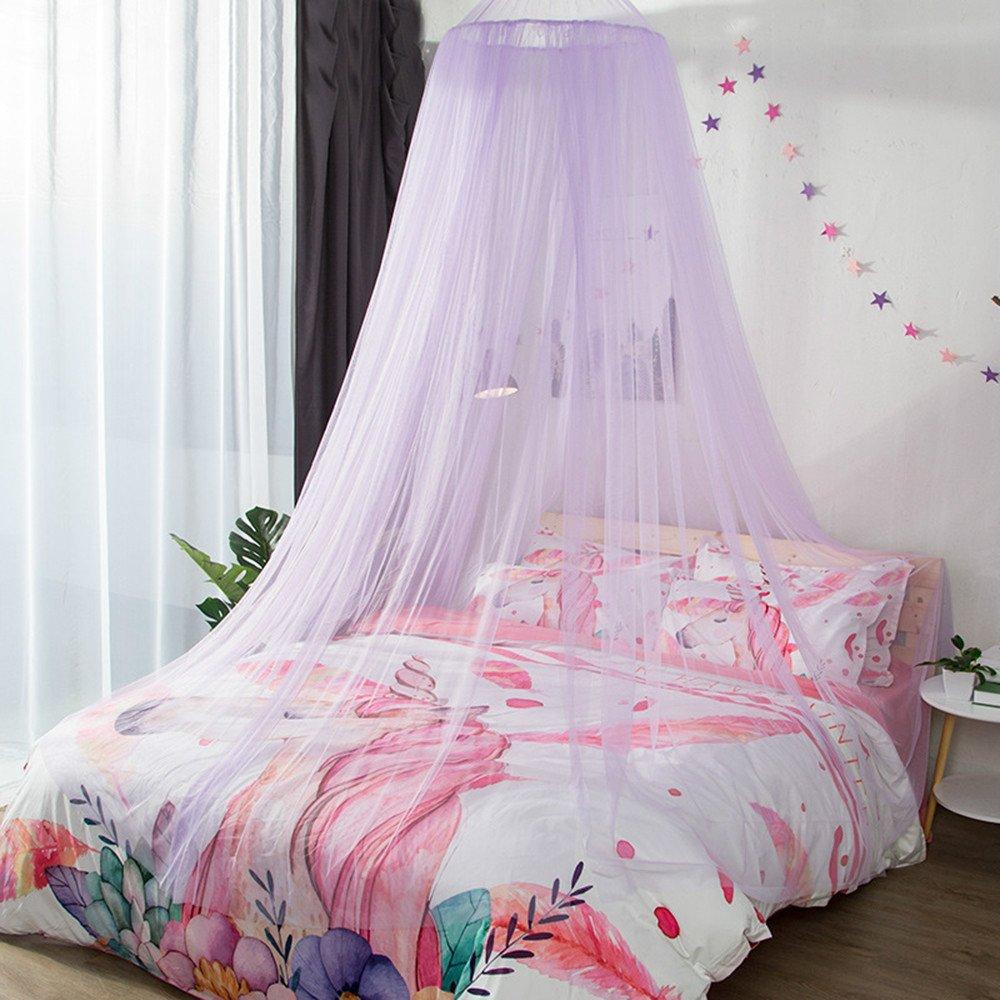 DASENLIN Moskitonetz Dome Landing Princess Bett Vorhang Encrypted Doppelzimmer Einzelbett Konto Lila