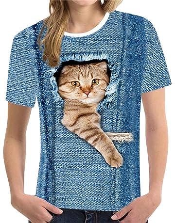 3063e9c27f0 KUKICAT Women Funny 3D Print Animal Summer Short Sleeve T-Shirts Top Blouse