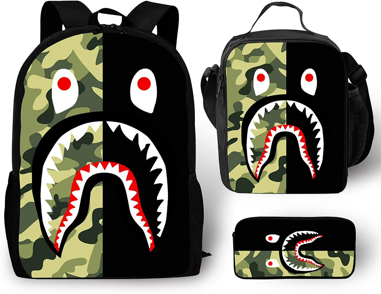 EELMOOR Bape Shark Teeth Camo Camouflage Backpack School Bag Travel Daypack 3 Sets for Boys/Girls