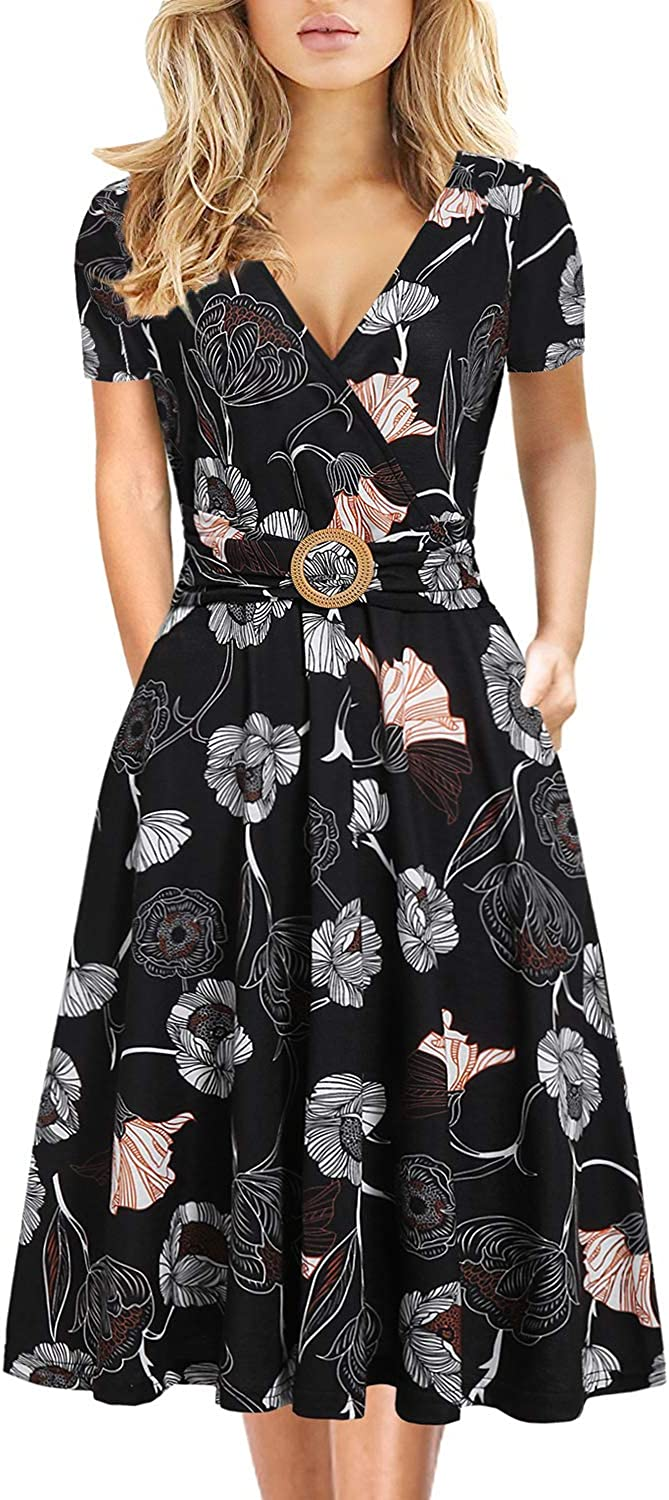 Women's Elegant Vintage Cotton Casual Floral Print Work Party A-Line Swing Dress with Pockets 978