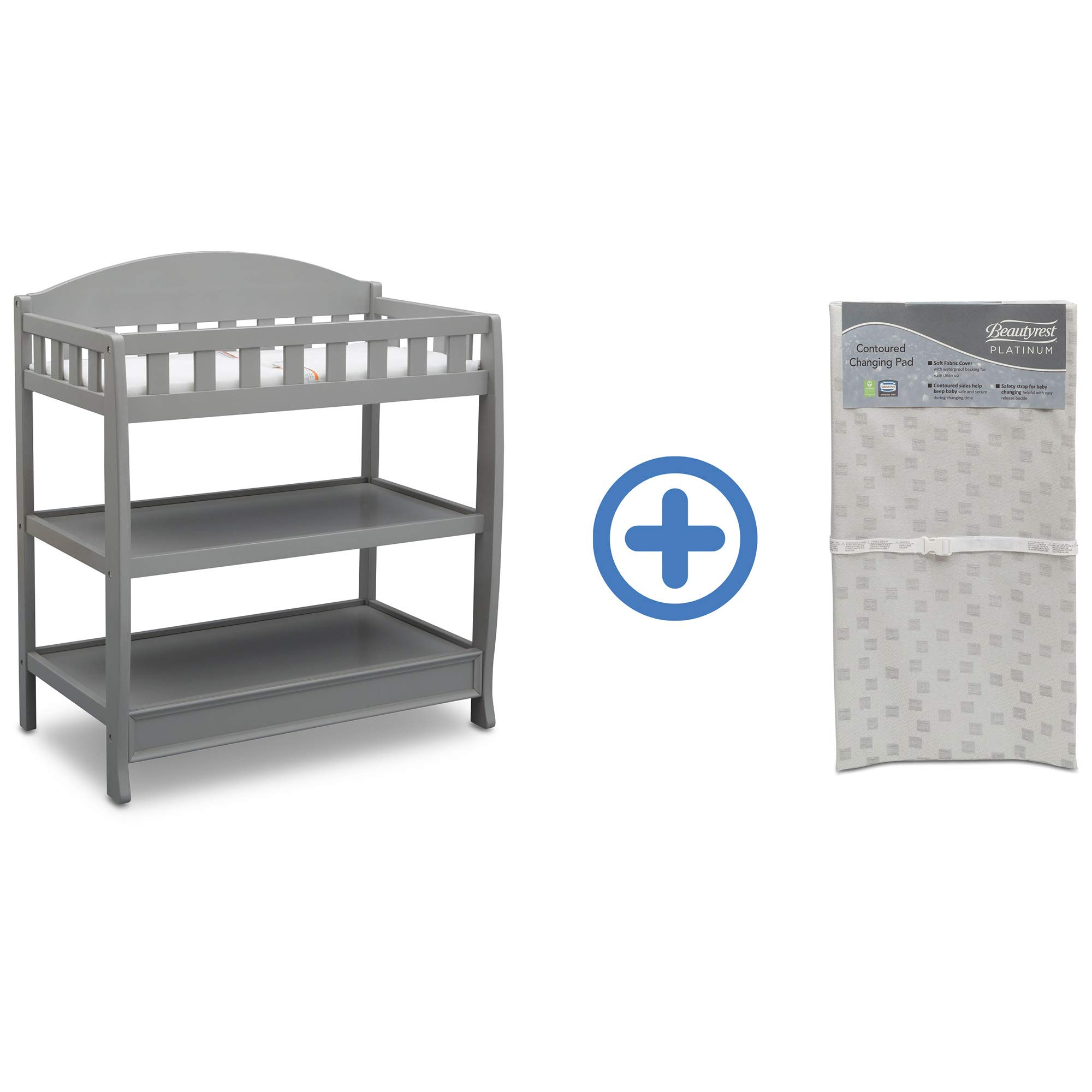 Delta Children Infant Changing Table with Pad, Grey and Waterproof Baby and Infant Diaper Changing Pad, Beautyrest Platinum, White