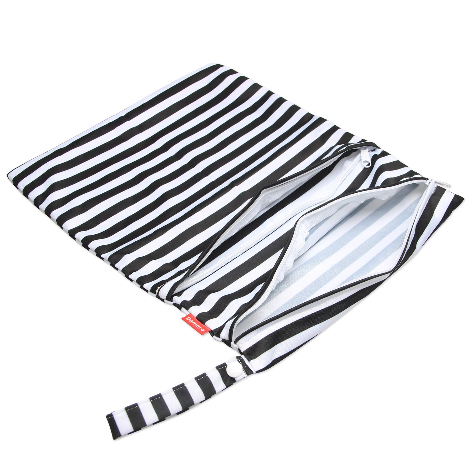 Damero 2pcs Travel Wet and Dry Bag with Handle for Cloth Diaper Black Strips Clothes Swimsuit and More Pumping Parts Easy to Grab and Go