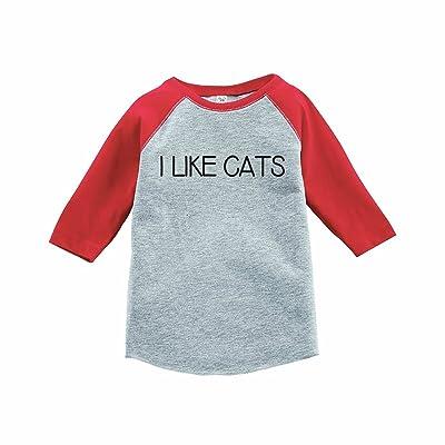 7 ate 9 Apparel Funny Kids I Like Cats Baseball Tee Red