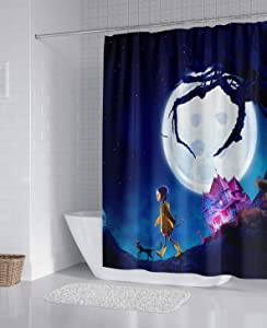 Maodam Gdcover Custom Happy Halloween Night Waterproof Shower Curtain Fabric for Fans Bathroom Decor 66x72 Inches