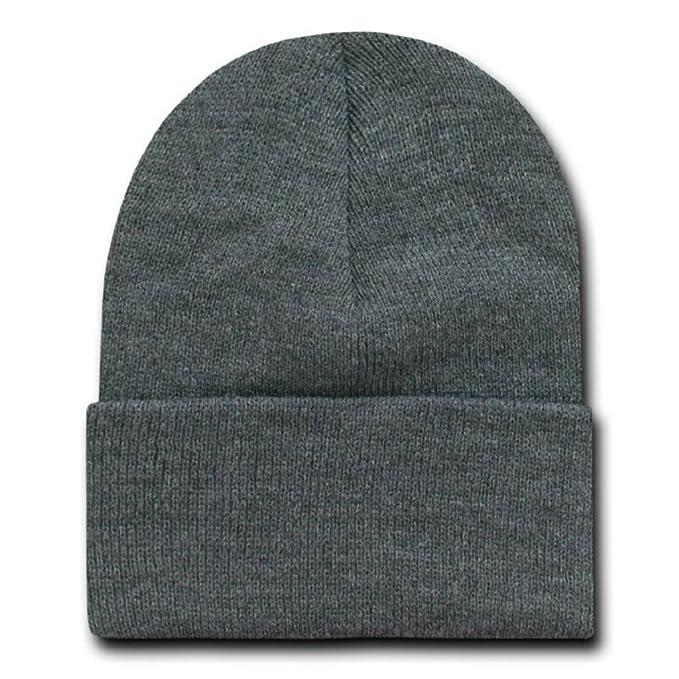 65e1d91d943562 Decky 12 Inch Long Cuffed Knit Beanie Cap (One Size, Charcoal Grey ...