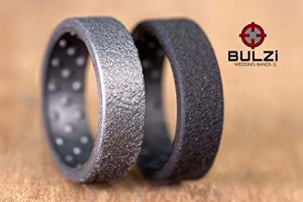 BULZi Hammered Design Massaging Comfort Fit Silicone Wedding Ring #1 Most Comfortable Men\u2019s /& Women/'s Band Flexible Work Safety Rubber Ring