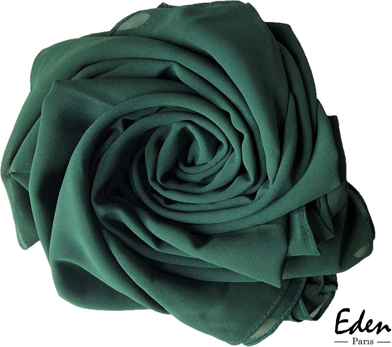 Pa/ñuelo Hijab para mujer vellada I Foulard isl/ámico moderno I muselina fluida y antideslizante I color liso I 75 x 180 cm EDEN Paris