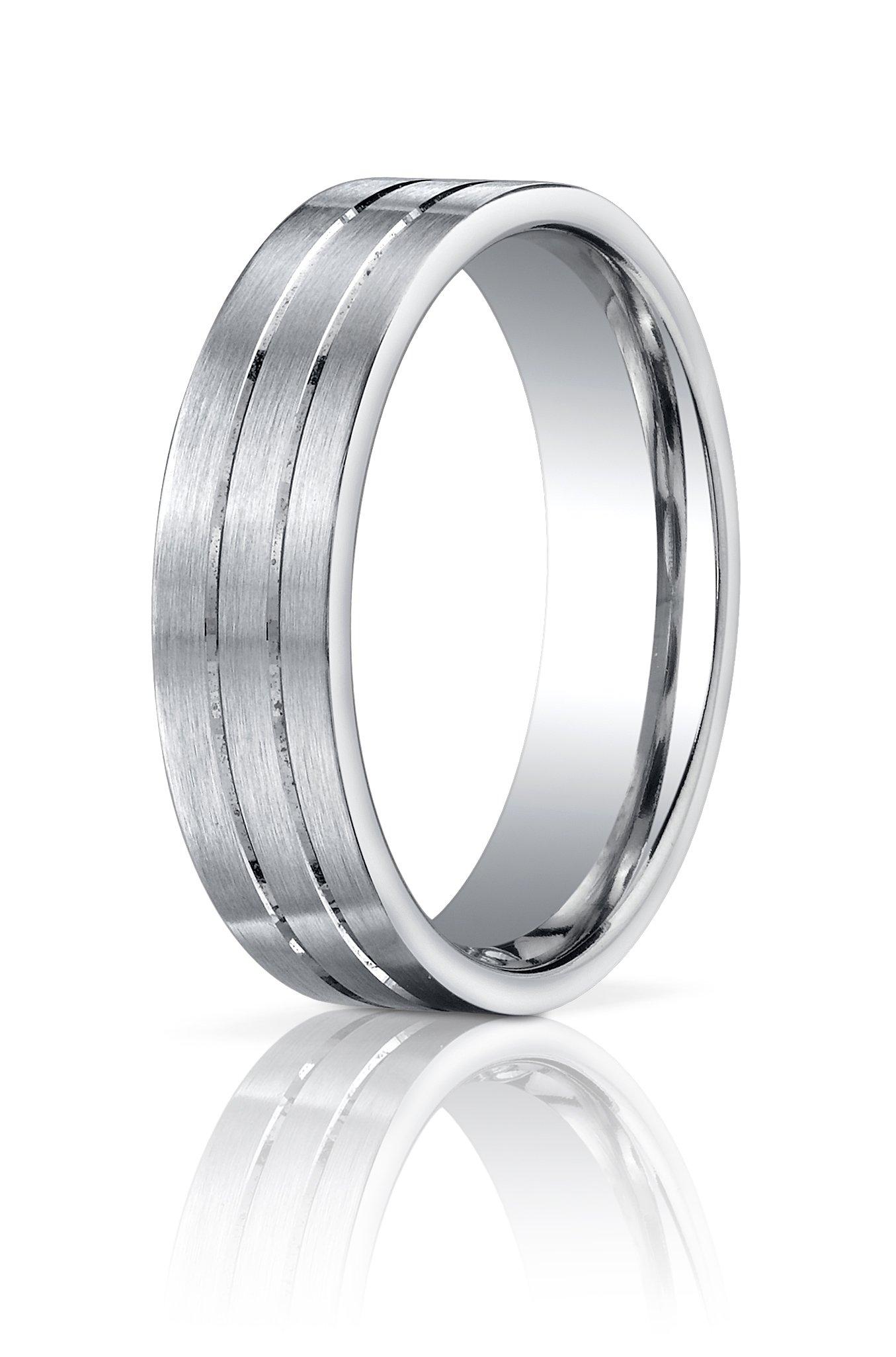 Men's Palladium 6mm Flat Satin Engraved Modern Wedding Band Ring