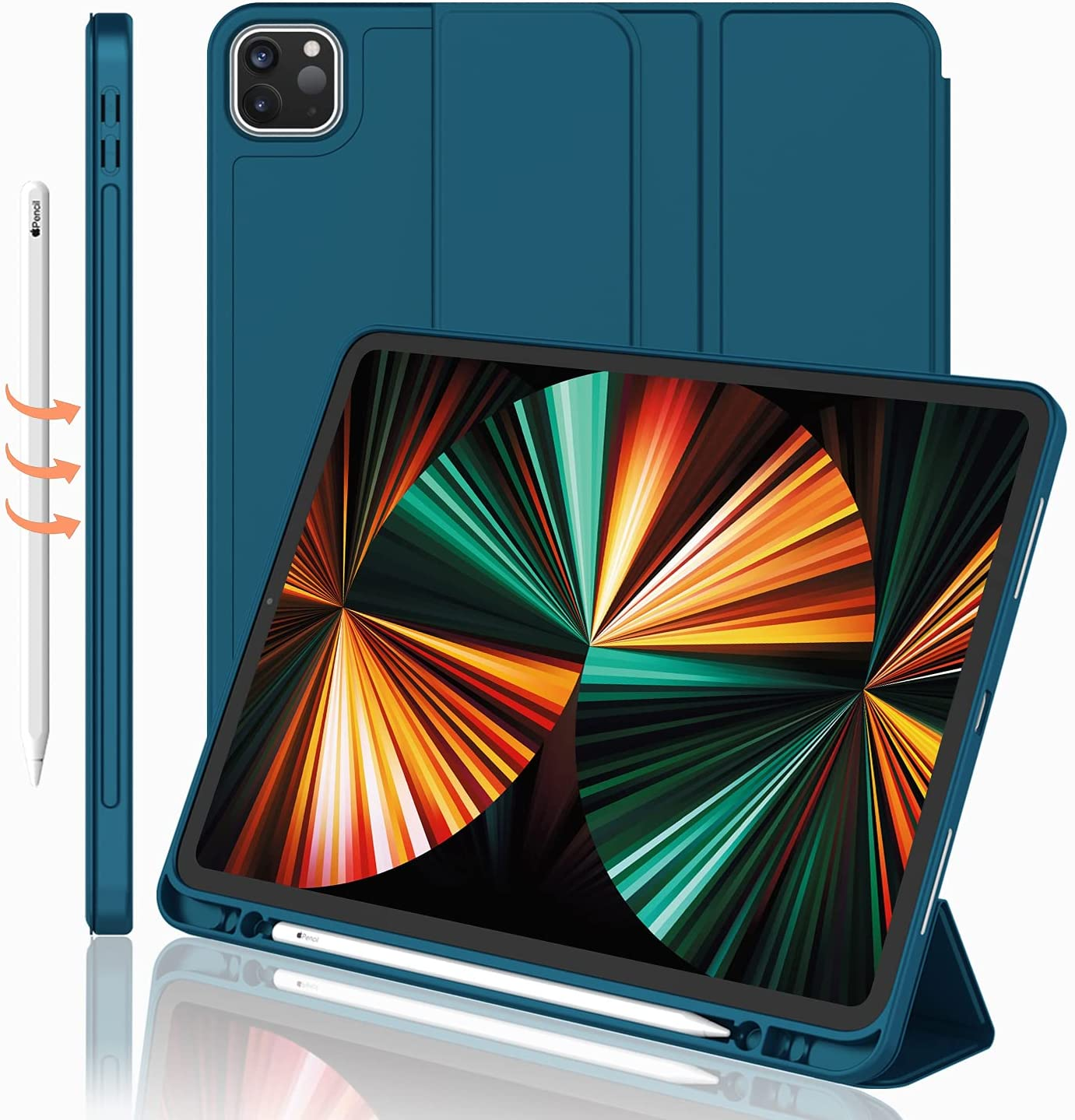 iMieet New iPad Pro 12.9 Case 2021(5th Gen) with Pencil Holder [Support iPad 2nd Pencil Charging/Pair],Trifold Stand Smart Case with Soft TPU Back,Auto Wake/Sleep(Teal)