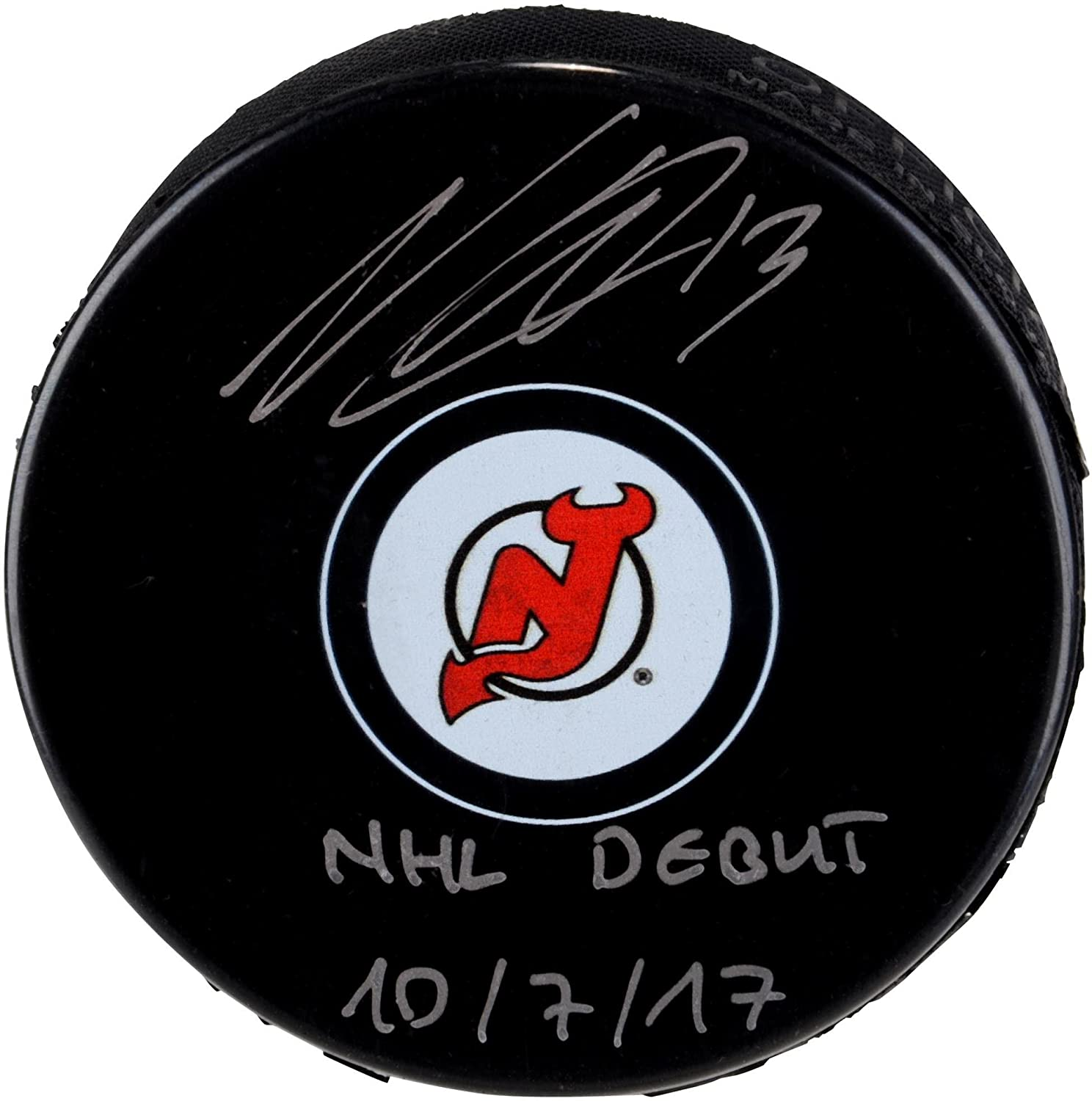 Nico Hischier New Jersey Devils Autographed Hockey Puck with NHL Debut 10/7/17 Inscription - Fanatics Authentic Certified