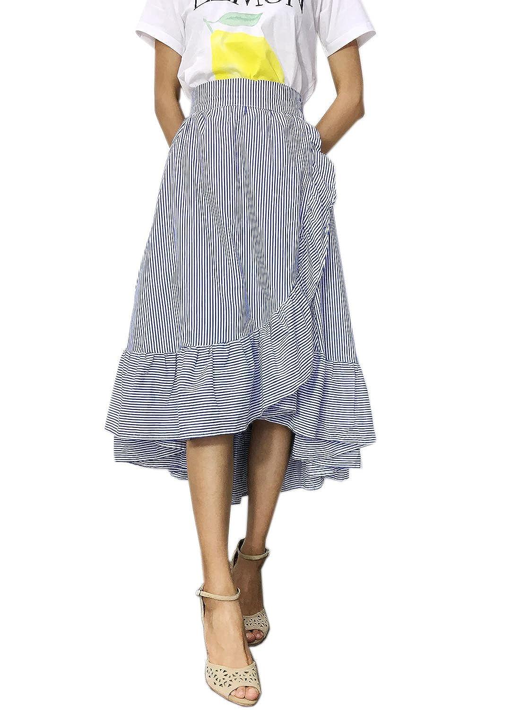 Futurino Women's Stripe Flounce High Low Hem Swing Maxi Wrap Skirt by Futurino
