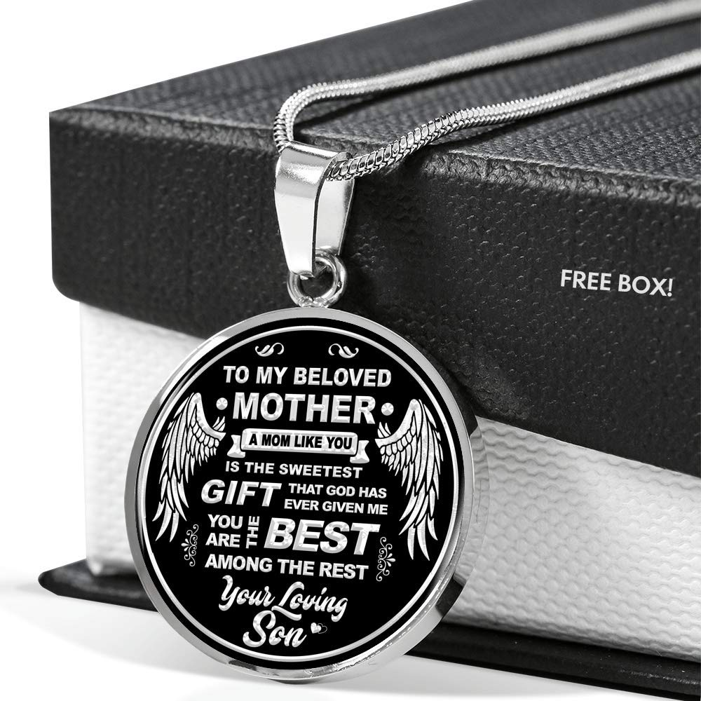2019 Necklace for Mom Anniversary Fa Gifts to My Mother Necklace from Son Includes Gift Box! Gift for Mother Luxury Necklace Silver On Birthday