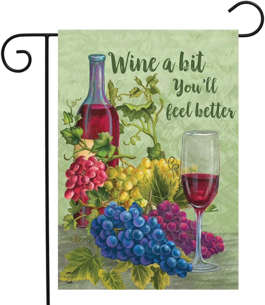 "Briarwood Lane Wine a Bit You'll Feel Better Garden Flag Grapes Vino 12.5"" x 18"""
