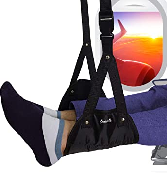 Portable Airplane Travel Accessories for Flight Bus Train Office Foot Hammock with Premium Memory Foam Prevents Swelling and Stiffness 2 Pcs Adjustable Height Airplane Footrest