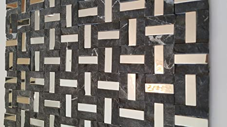 Quadretti di mosaico cm piastrelle di pietra grigio cromo