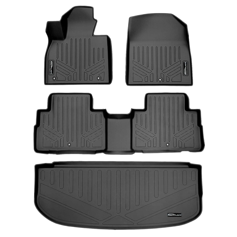 SMARTLINER Custom Fit Floor Mats 2 Rows and Cargo Liner Behind 3rd Row Set Black for 2020 Hyundai Palisade
