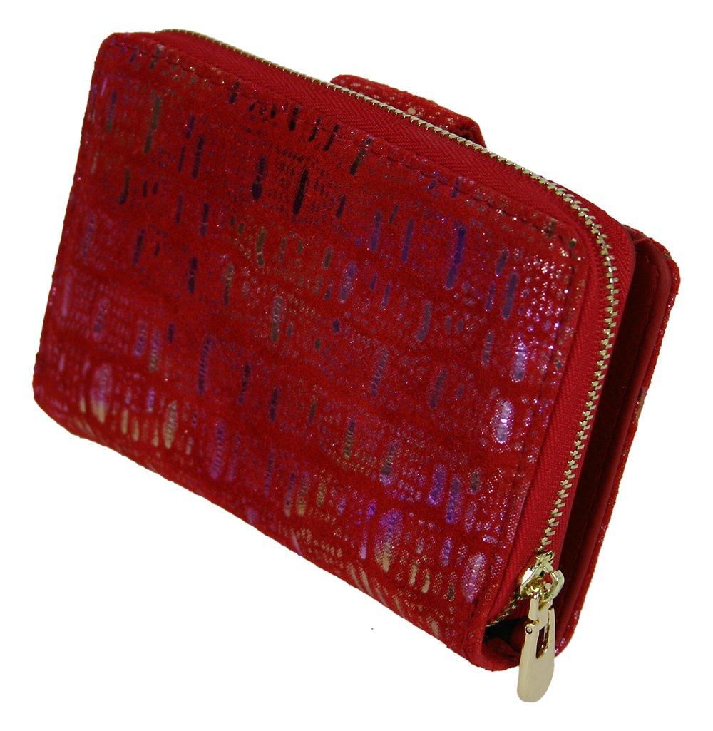 Midi Damen Geldbörse Wildleder mit Effekt-Print Geldbeutel Rotes Portemonnaie