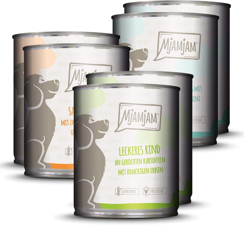 MjAMjAM - Pienso acuoso para Perros - Mix Pack I 2* Pollo & Pato, 2* Ternera, 2* Pavo y arroz 6 x 800 g