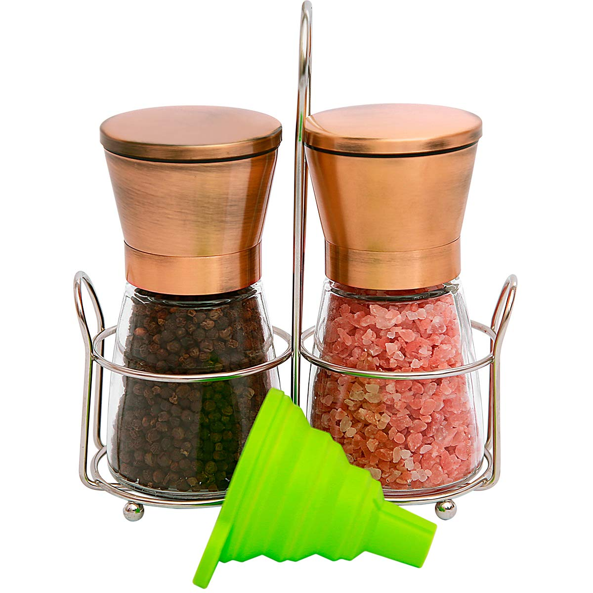 Copper Stainless Steel Salt and Pepper Grinder Set with Stand|Manual Himalayan Pink Salt Mill|Salt and Pepper Shakers with Adjustable Coarseness and Clear Glass Body (Pack of 2) Molion C001