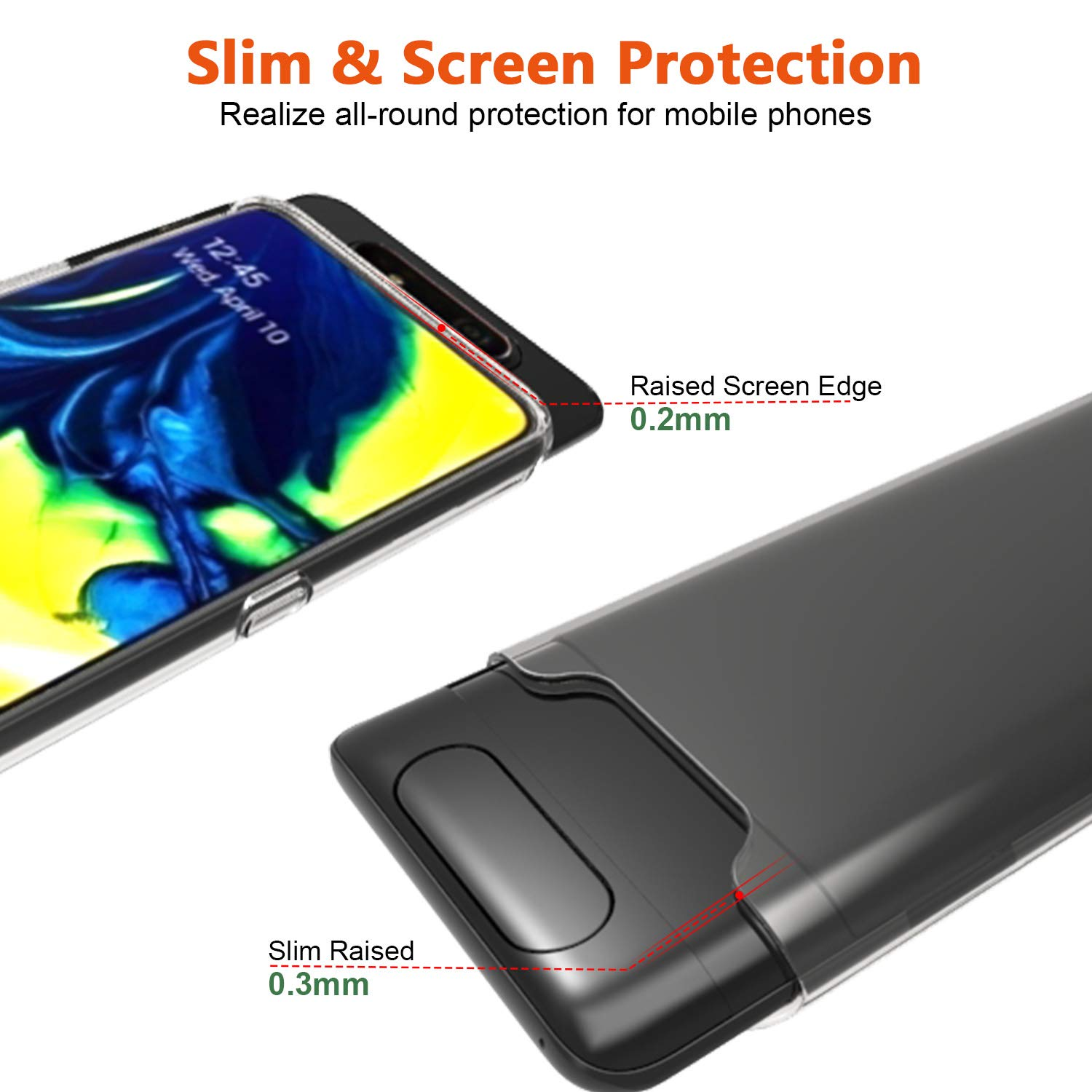 Halnziye Case for Samsung Galaxy A80, Slim Clear Soft TPU Case with [Tempered Glass Screen Protector], Shockproof Silicone Protective Phone Case [Anti-Yellow] Designed for Samsung Galaxy A80