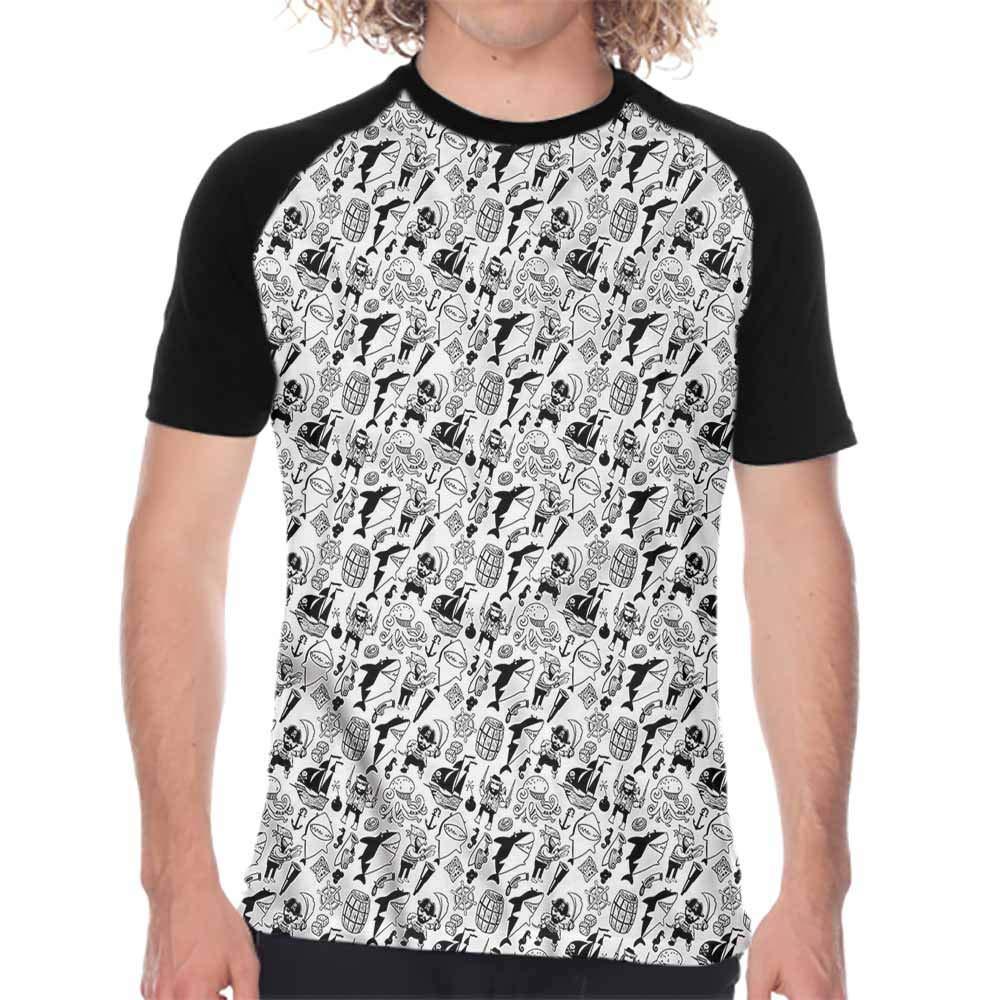 Houselife Pirate,Baseball Shirts for Men Skull and Crossbones Bandit,Super Casual O-Neck T Shirts