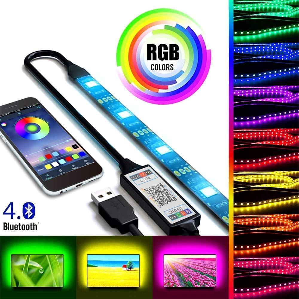 2m USB Tira de luz LED Control de aplicación de teléfono inteligente Bluetooth, RGB 5050 Cambio de color Flexible Tira de luz de fondo de TV impermeable para la decoración interior y exterior