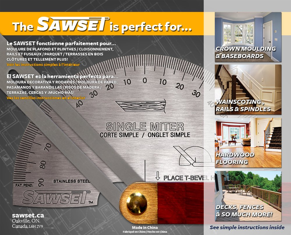 Sawset: The Miter Saw Protractor. Reinvented to Eliminate Math! Designed by Carpenters for Carpenters. by Sawset (Image #4)