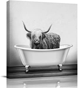 Chucoco Yak Highland Cow in The Bathtub Oil Paintings On Canvas Wall Art Grey Wildlife Art Abstract Print Artwork with Framed Ready to Hang, Living Room Kitchen Corridor Bedroom Office Decor