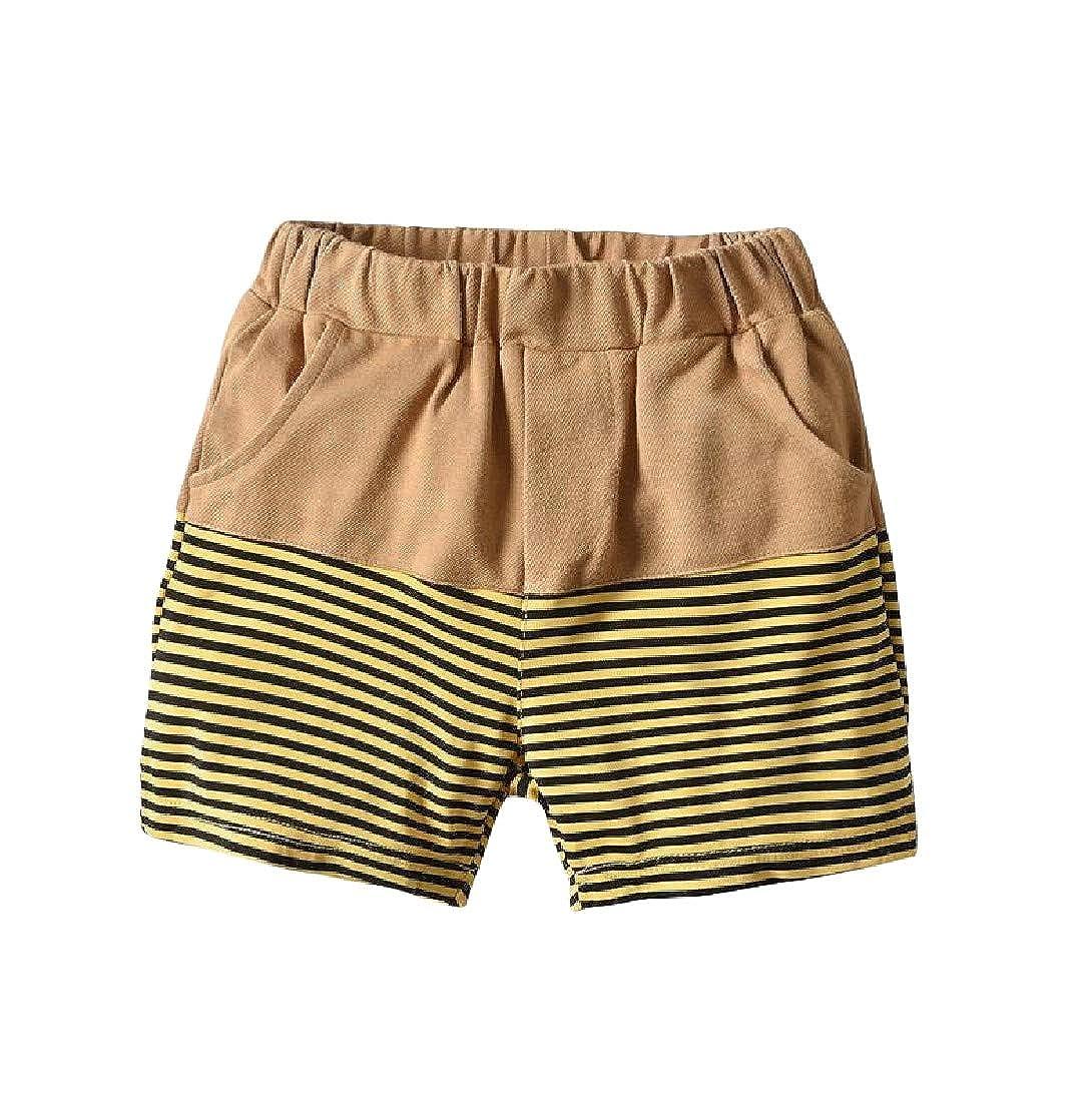 Joe Wenko Boys All-Match Girls Stripe Spliced Cotton Cute Short