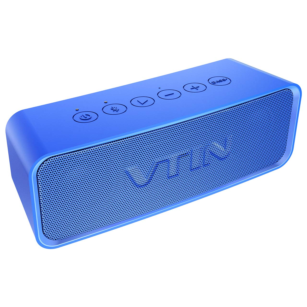 VTIN Bluetooth Speaker, Portable Outdoor Speaker with Exclusive Bold Bass+, Superior Sound, IPX6 Waterproof, 1000 Min Playtime, Bulit-in Mic, Wireless Speakers for Beach/Party/Dance/Bicycle-Blue