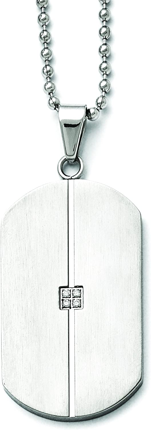 Shop4Silver Stainless Steel Brushed And Polished W//Cz Necklace