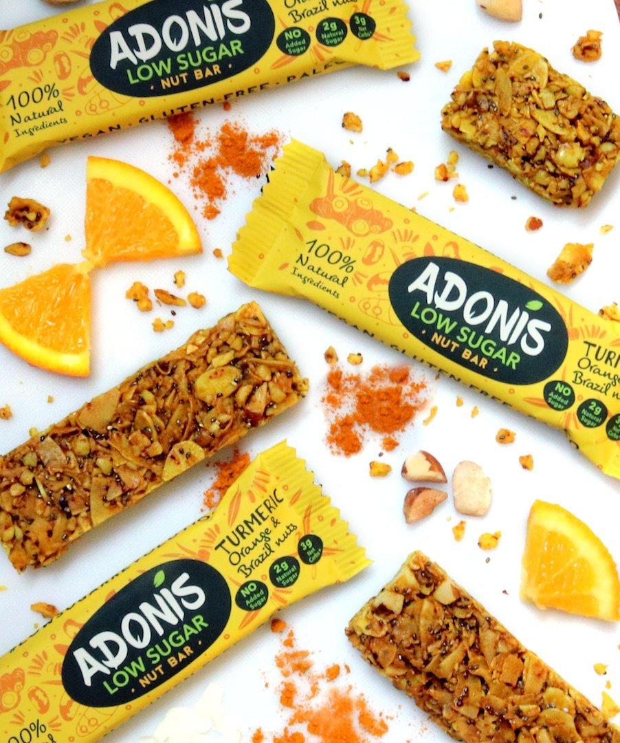 Adonis Low Sugar - Barritas de Nueces del Brasil Crujiente sabor Cúrcuma y Naranja | 100% Natural, Baja en Carbohidratos, Sin Gluten, Vegano, Paleo (10): ...