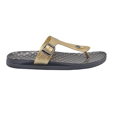 Gold Toe Ladies Sandal Metallic PCU Slide with Polka Dot Print Footbed Slip On Thong Flip Flop | Flats