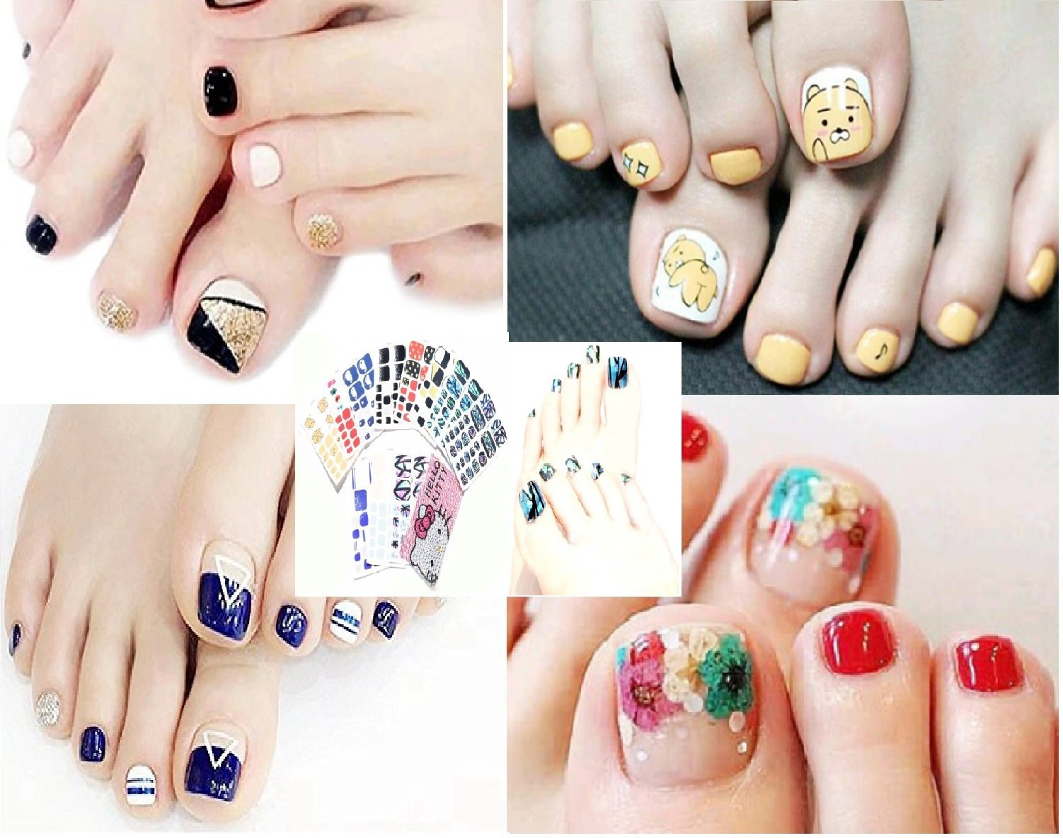 Bavs 11 DIFFERENT SHEET toes nail stickers Decal Beauty for Women Girls Kids Decals Manicure polish 3d art Glass slice toe nail sticker/Bling Bling Cubic 1 (Random)