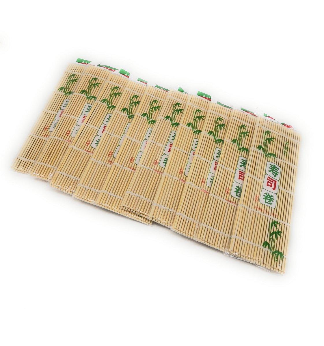 THY COLLECTIBLES Sushi Making Rolling Mat Natural Bamboo 9.5''x9.5'' 10 PCS SET