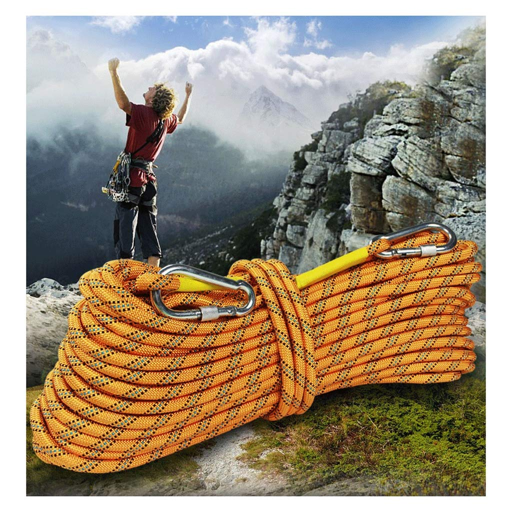 MLM clbrp Yellow Climbing Rope Diameter 14mm Spider-Man Protection Rope Rappelling Rope Escape Auxiliary Rope with 2 Carabiner a Gift Bag (Color : 14MM, Size : 20m) by MLM clbrp