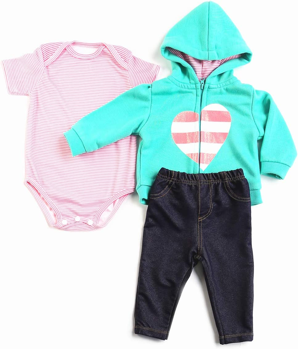 Pedolltree 3 Pcs Reborn Baby Dolls Clothes 22 Inch Girl Reborn Doll Clothing Outfits for 20-23 inch Newborn Baby Alive