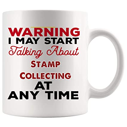 Talking About Stamp Collecting Mug Coffee Cup Tea Mugs Gift   Warning Talk At Any Time