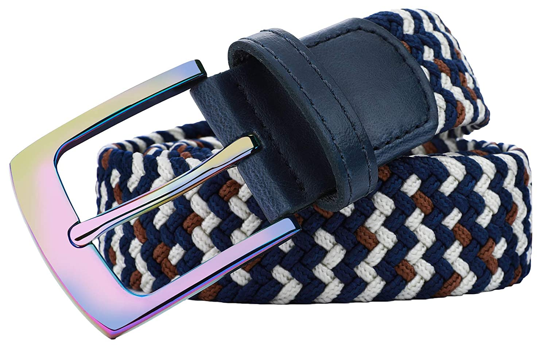 BULLIANT Cintura Uomo Elastica Intrecciata con Fibbia in Lega di Zinco 1 3//8