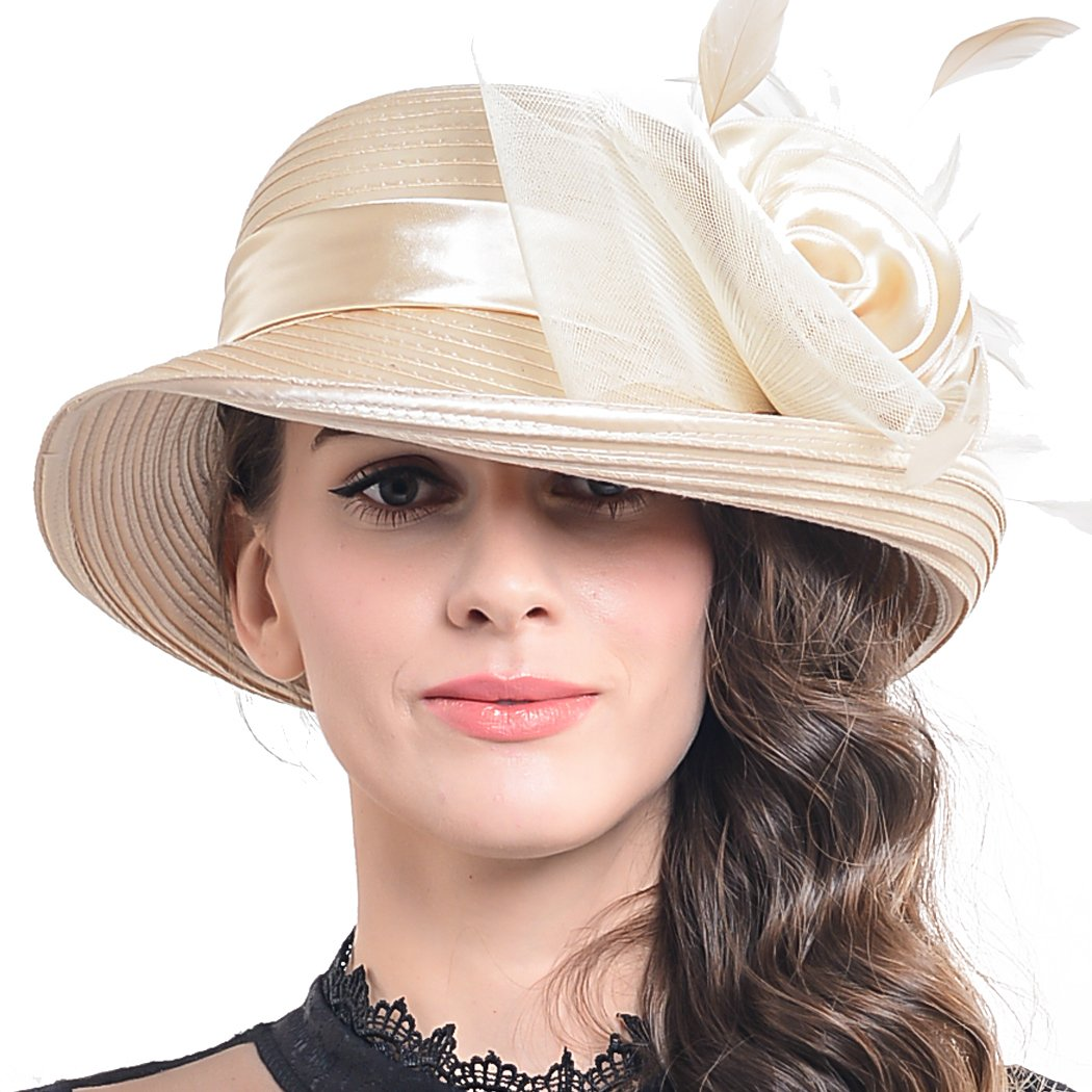 a849f4f321d FORBUSITE Church Hats for Women Tea Party Dress Hat for Ladies Apricot at  Amazon Women's Clothing store: